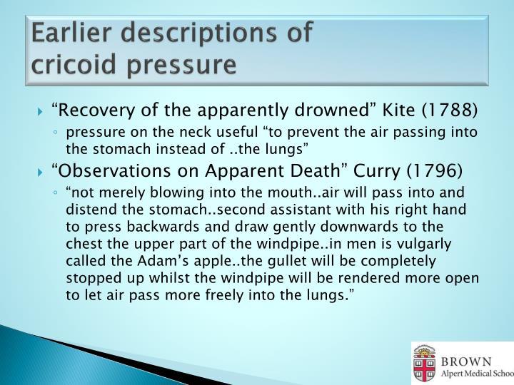 Earlier descriptions of