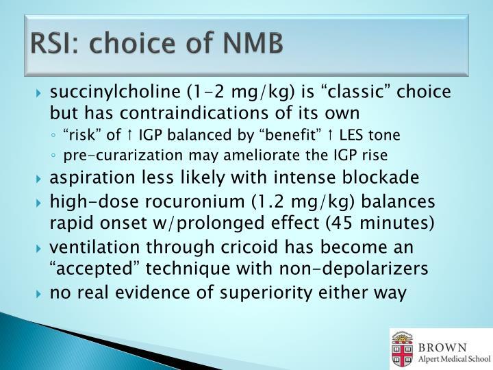 RSI: choice of NMB