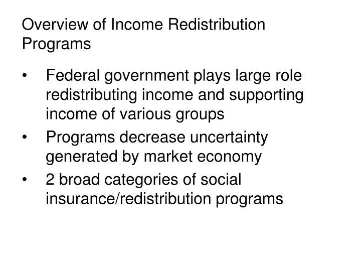 overview of income redistribution programs n.