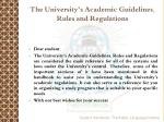 the university s academic guidelines rules and regulations