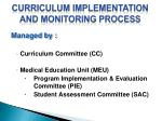 curriculum implementation and monitoring process