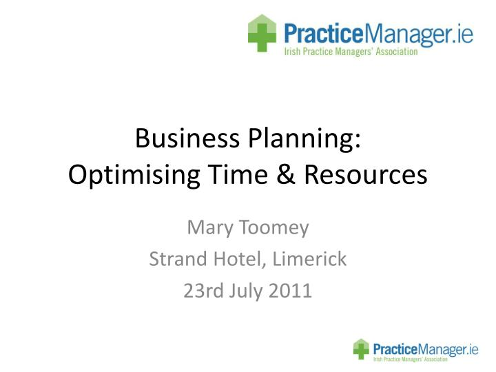 business planning optimising time resources n.