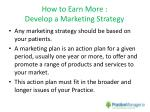 how to earn more develop a marketing strategy