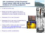 ark container of the covenant found about 1982 ad by ron wyatt evidence of coming judgment1