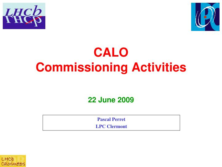 calo commissioning activities n.