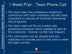 1 week prior team phone call