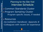 planning for the site visit interview schedule