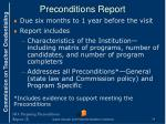 preconditions report