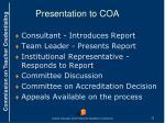 presentation to coa