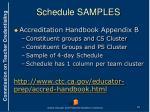 schedule samples