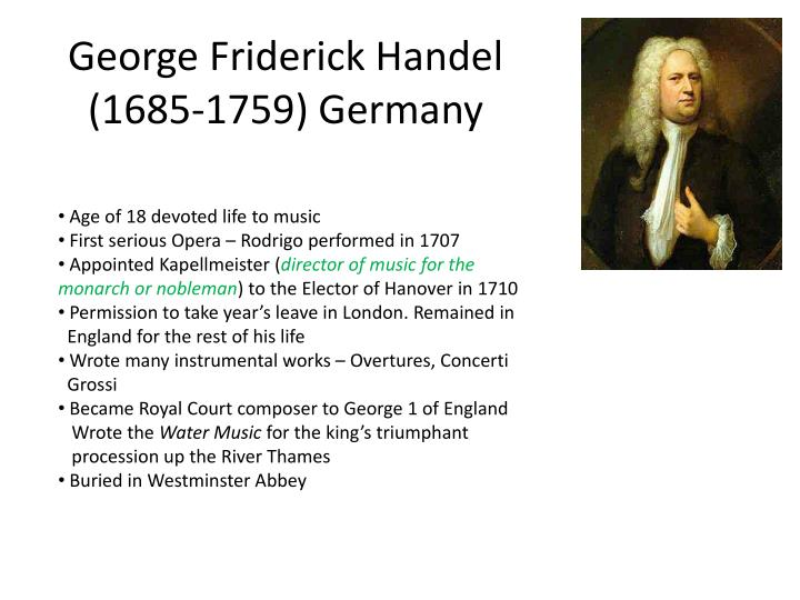 george friderick handel 1685 1759 germany n.