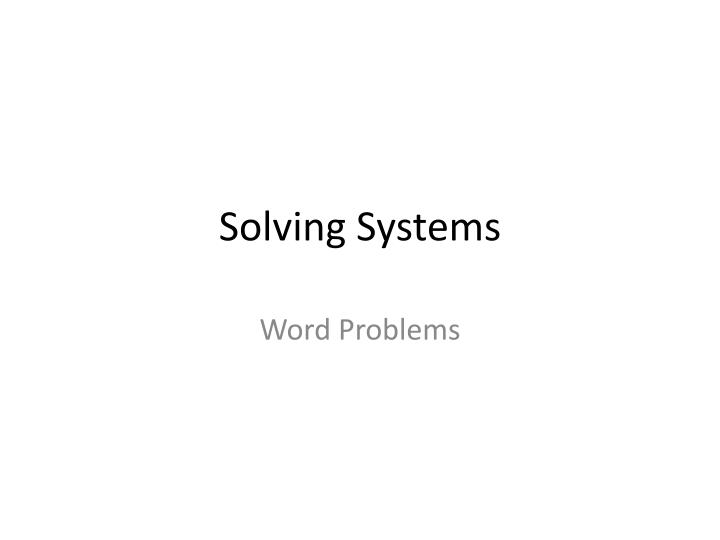 solving systems n.