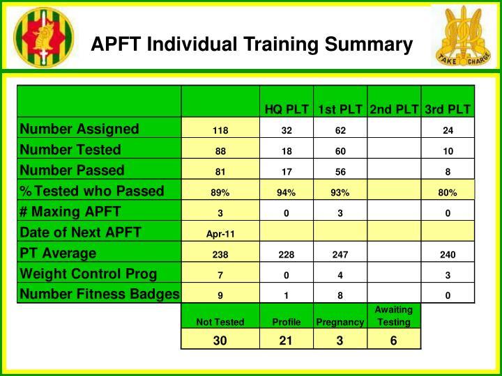 APFT Individual Training Summary
