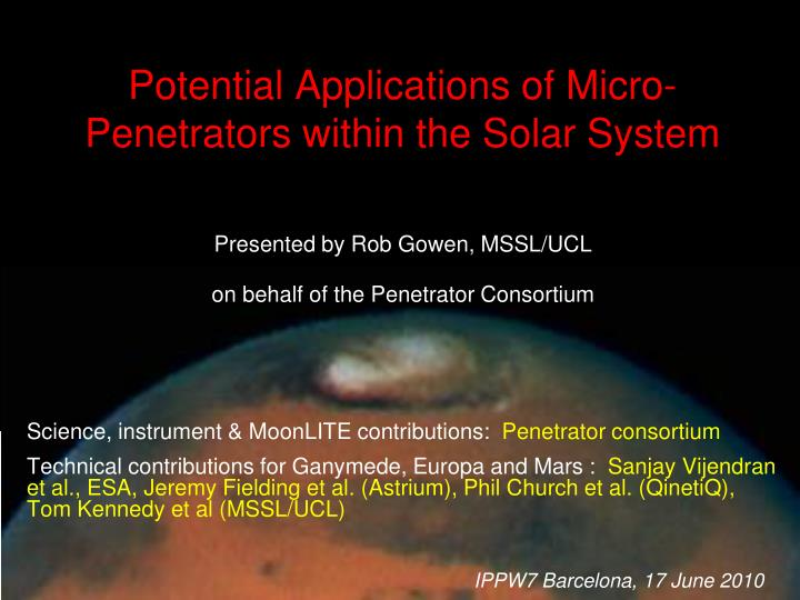 potential applications of micro penetrators within the solar system n.