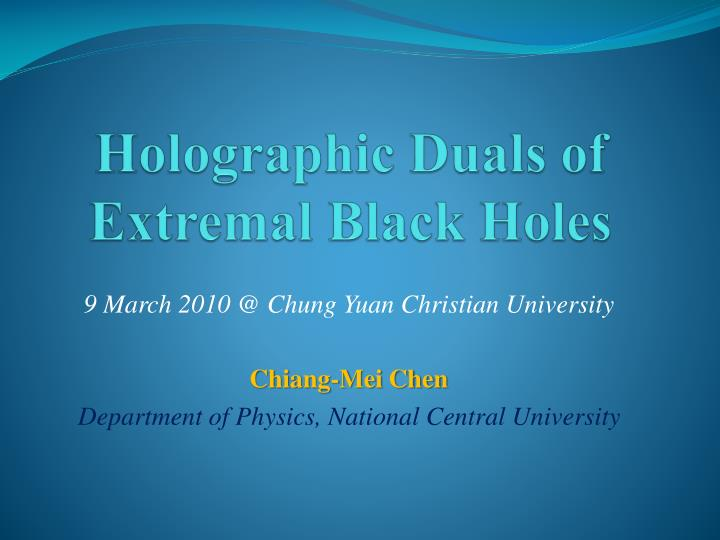holographic duals of extremal black holes n.
