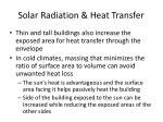 solar radiation heat transfer