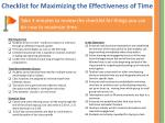 checklist for maximizing the effectiveness of time