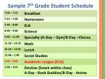 sample 7 th grade student schedule