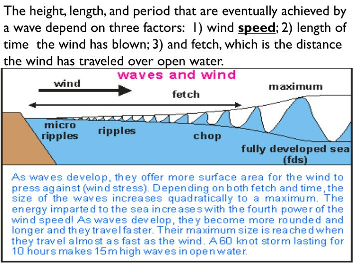 The height, length, and period that are eventually achieved by a wave depend on three factors:  1) wind
