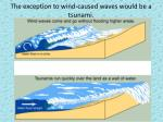 the exception to wind caused waves would be a tsunami
