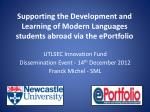 supporting the development and learning of modern languages students abroad via the eportfolio