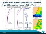 cyclonic eddy formed off newcastle on 5 3 13 argo 200m upward heave off jb 16 4 13