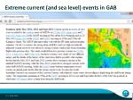 extreme current and sea level events in gab