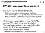 ietf 88 in vancouver november 2013