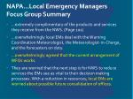napa local emergency managers focus group summary