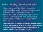 napa moving towards more idss