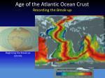 age of the atlantic ocean crust recording the break up