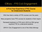 cw101 fye civic engagement
