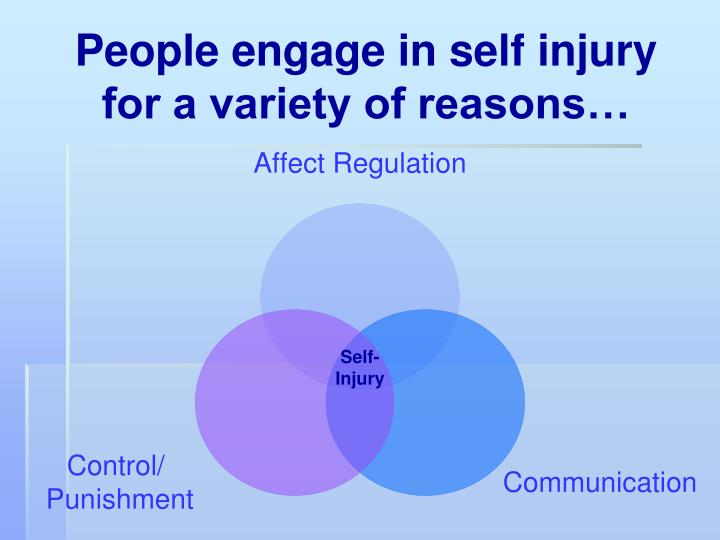 People engage in self injury for a variety of reasons…