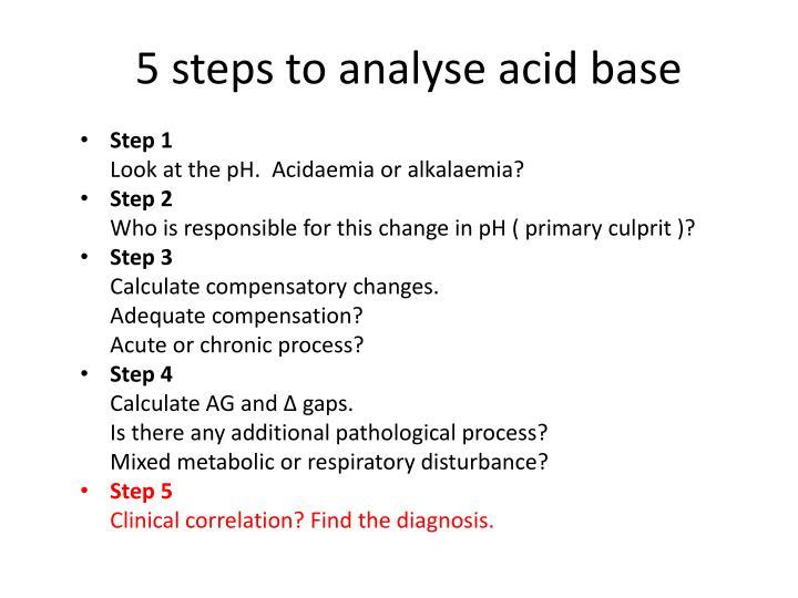 5 steps to analyse acid base