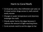 harm to coral reefs