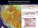 basin and range province extensional thinning of the crust