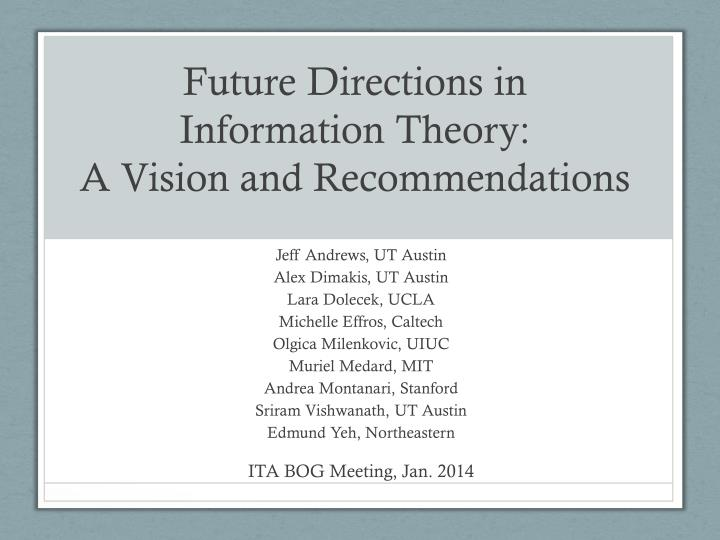 future directions in information theory a vision and recommendations n.