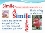 simile comparing two things using like or as