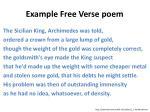 example f ree v erse poem