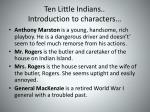 ten little indians introduction to characters
