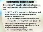 constructing the lagrangian i