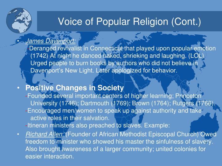 Voice of Popular Religion (Cont.)