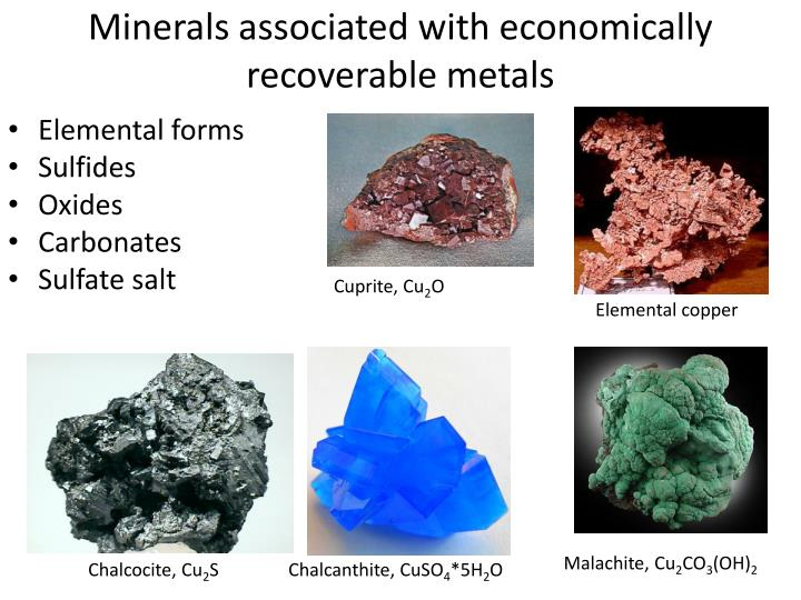 minerals associated with economically recoverable metals n.