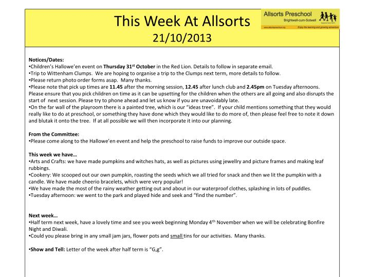 this week at allsorts 21 10 2013 n.