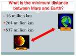 what is the minimum distance between mars and earth