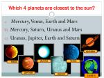 which 4 planets are closest to the sun