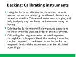 backing calibrating instruments