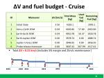 v and fuel budget cruise