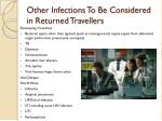 other infections to be considered in returned travellers