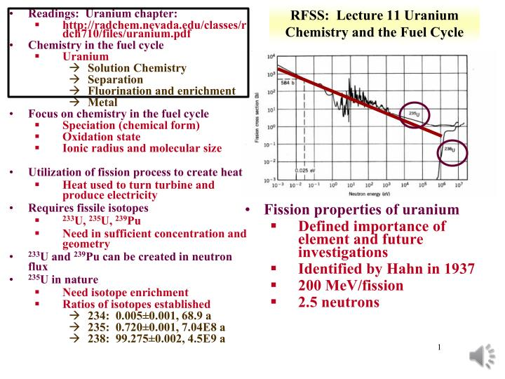 rfss lecture 11 uranium chemistry and the fuel cycle n.